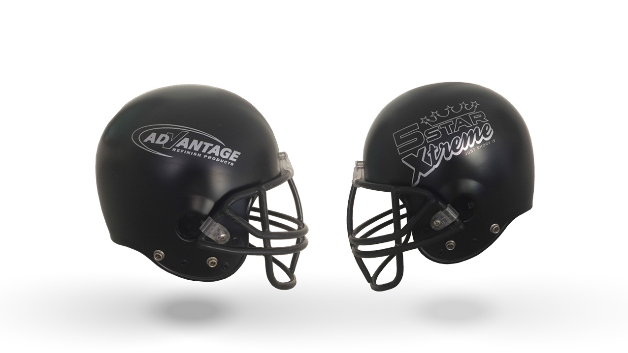 Helmets painted with 8100 Stealth-Black premium acrylic urethane single stage color